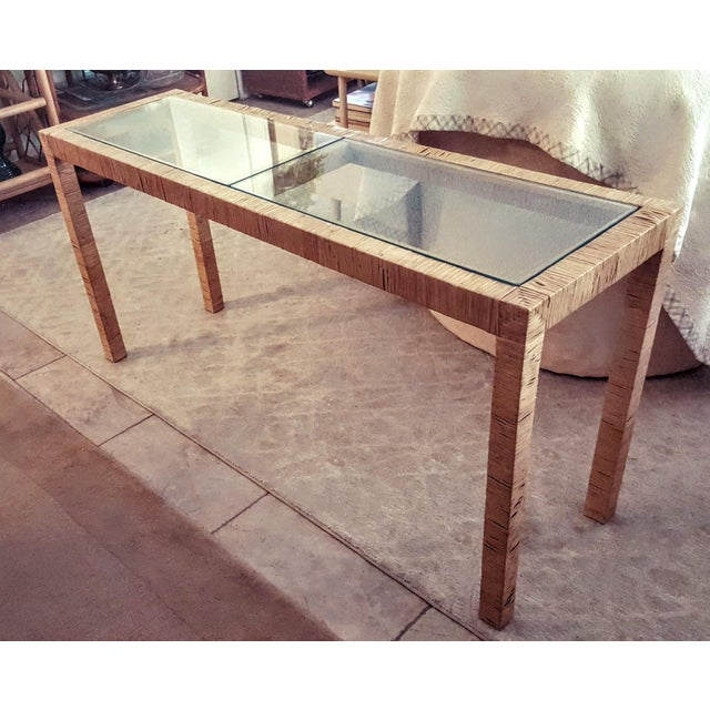 Bielecky Brothers Wicker Papyrus Reed Wrapped Console Table with Inlaid Glass Top For Sale In Palm Springs - Image 6 of 11