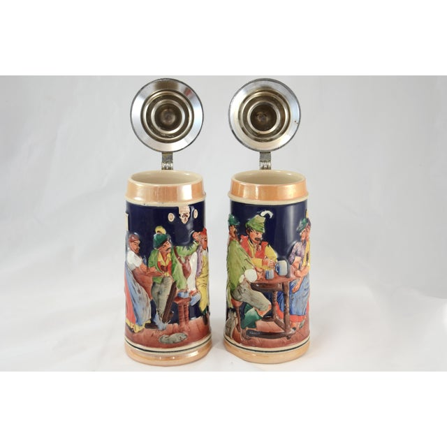 Oktoberfest Ceramic & Pewter Lidded Beer Steins - a Pair For Sale - Image 5 of 9