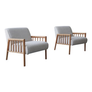 Pair of Minimalist Mid Century Lounge Chairs by Conant Ball For Sale