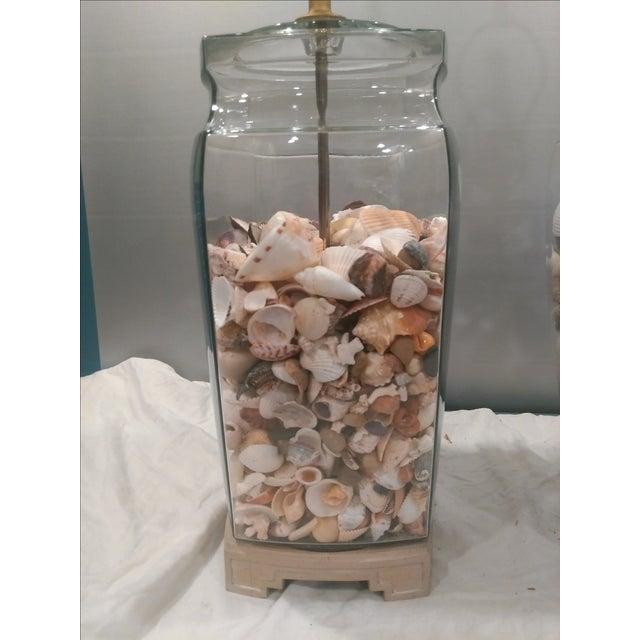 Shell Glass Urn Lamps John Richard Shades - Pair - Image 8 of 11