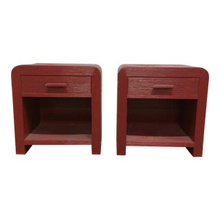 1980s Hollywood Regency Pencil Reed Night Stands or End Tables - a Pair For Sale