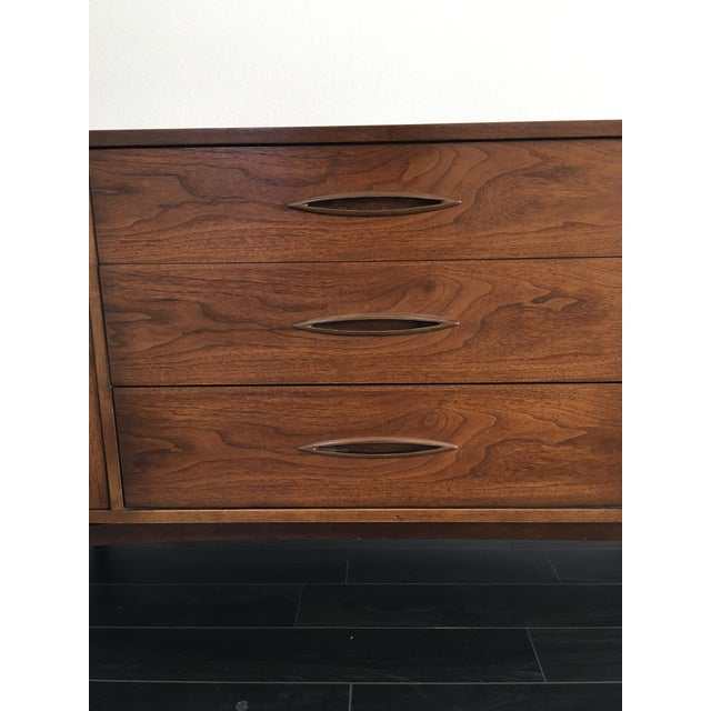 160s Mid Century Modern Broyhill Sculptura Walnut Credenza For Sale - Image 12 of 13
