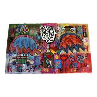 Contemporary Acrylic Graffiti Art Painting Canvas Rodney Denne Urban Angel 2000s For Sale