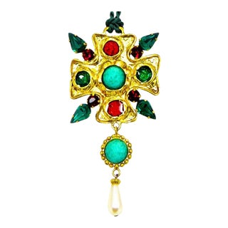 Dolce and Gabbana Poured Glass & Cabochon Pendant For Sale