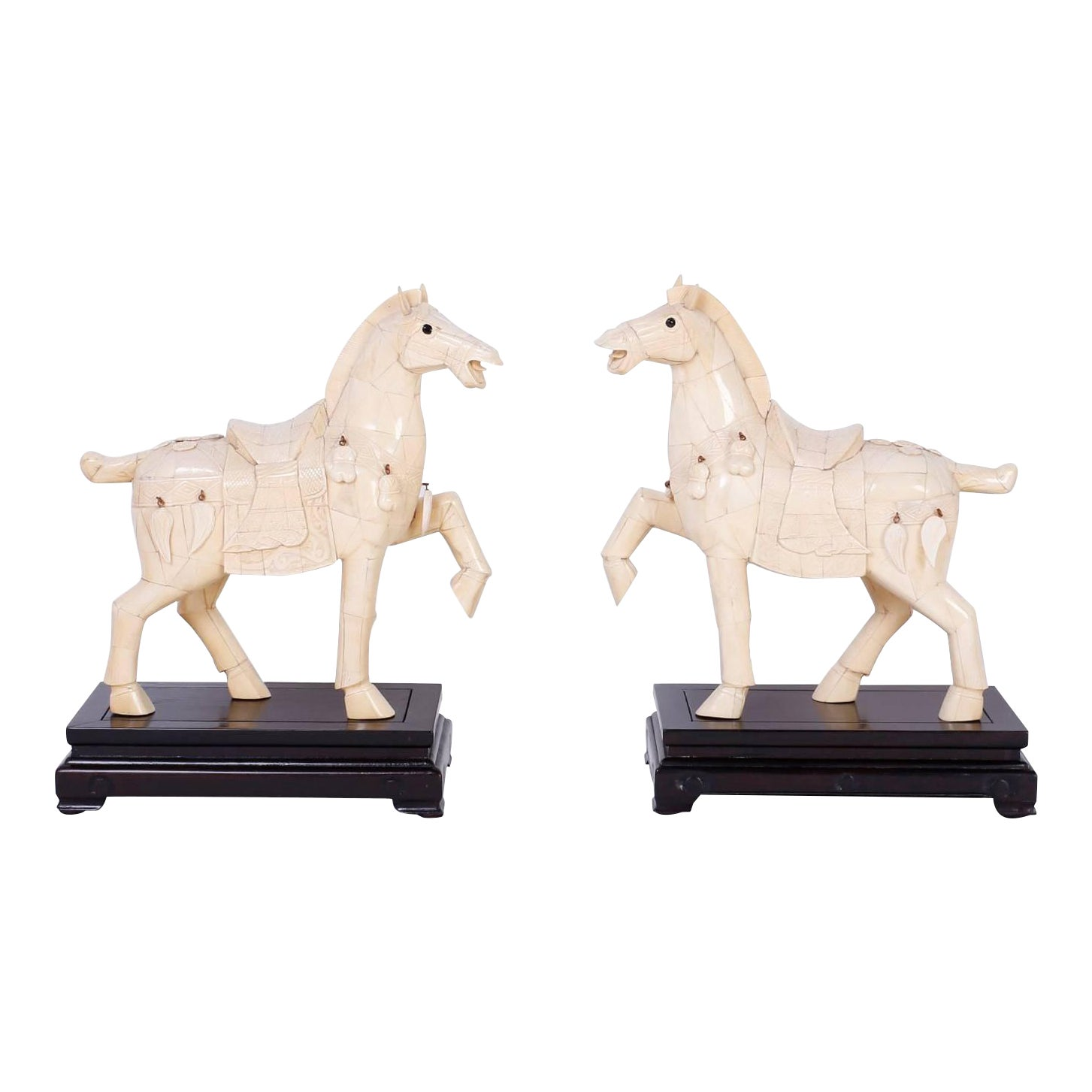 Chinese Carved Bone Horses A Pair Chairish