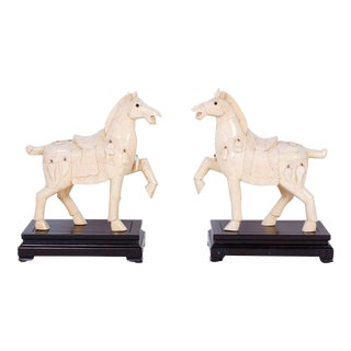 Chinese Carved Bone Horses - A Pair For Sale