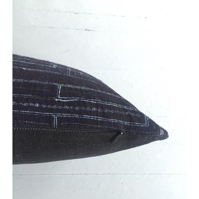 Rustic Indigo Stripe Hmong Lumbar Pillow Cover - Image 6 of 8