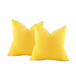 Canary Yellow Maharam Woven Wool Pillow Covers - a Pair For Sale