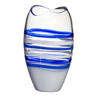 Large Ellisse Vase in Blue and White by Carlo Moretti For Sale