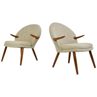 Pair of Kurt Olsen Danish Teak Lounge Chairs For Sale