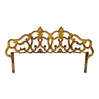 Hollywood Regency Gold Gilt Brass Metal Rococo Style Headboard For Sale