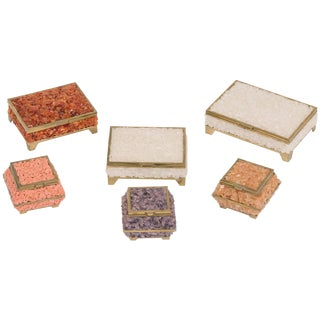 Set of Six Quartz and Coral Boxes For Sale