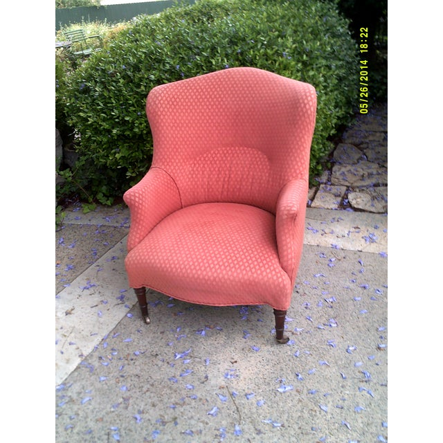 English Red Wingback Chair For Sale - Image 4 of 5