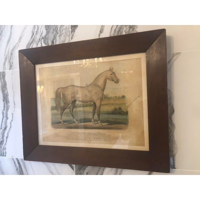 """19th Century Antique Currier & Ives """"Imported Messenger"""" Equestrian Lithograph Print For Sale - Image 4 of 11"""