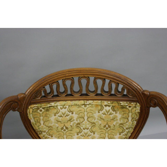 Pair of Vintage Hollywood Regency French Style Squiggle Loop Back Living Room Chairs For Sale In Philadelphia - Image 6 of 11