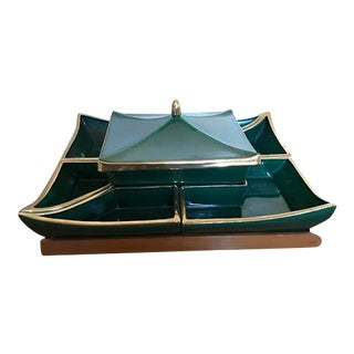 1960s Green Asian Modern Style Mid Century Lazy Susan For Sale