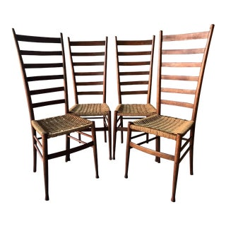 Gio Ponti Ladder Back Rope Seat Dining Chairs - Set of 4