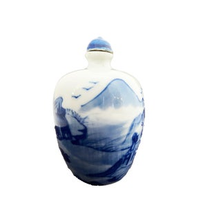 Chinoiserie Porcelain Blue & White Snuff Bottle For Sale