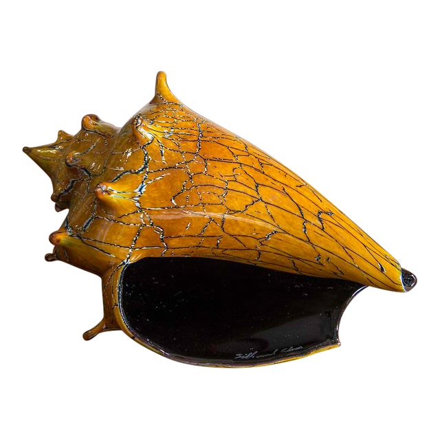 Exquisite hand blown art glass conch shell silkwood glass for Silkwood glass