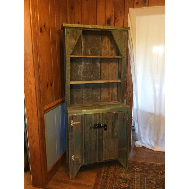 Wood Primitive Wood Green Hutch For Sale - Image 7 of 13