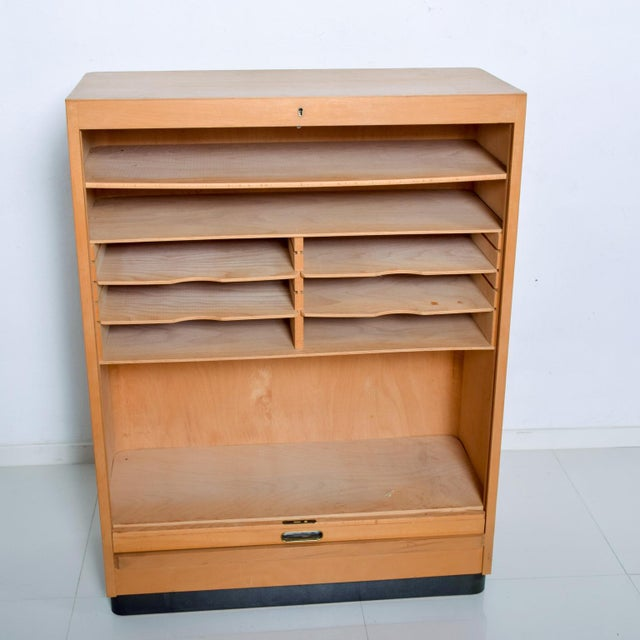Bauhaus Filing Cabinet Locking Tambour Door by Adolf Maier Germany For Sale - Image 11 of 11