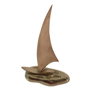 Mid-Century Brass & Copper Sailboat For Sale