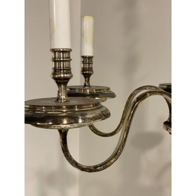 Edward F. Caldwell & Co. 1920's Caldwell Six Light Silver Plated Chandelier For Sale - Image 4 of 9