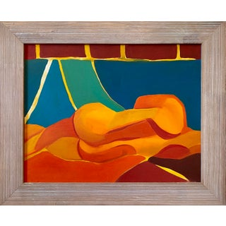 """1980s """"Nude Study in Color"""" Abstract Reclining Figure Oil Painting, Framed For Sale"""