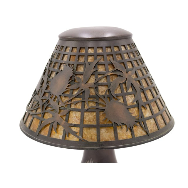 American Mission bronze brown patina table lamp with silver deposit thistle design on base and shade with mica insert...
