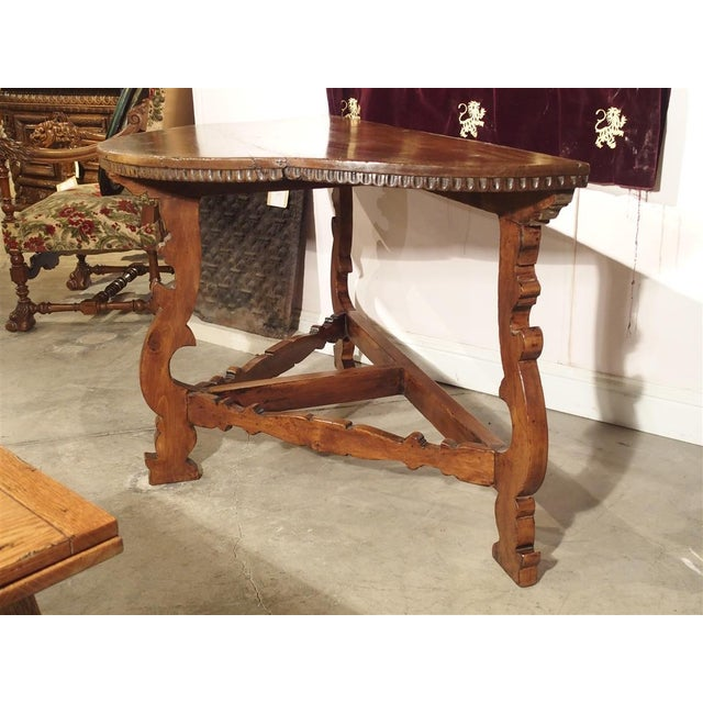18th Century Italian Walnut Wood Demi Lune Console Table For Sale - Image 9 of 13