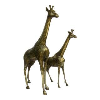 Mid-Century Oversized Brass Standing Giraffes - a Pair For Sale