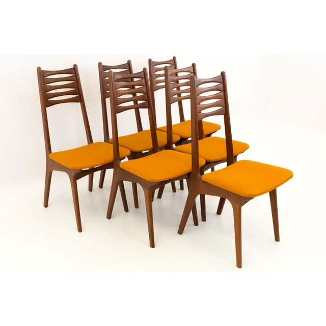 Vintage Mid Century Teak Bow Tie Ladderback Dining Chairs- Set of 6 For Sale - Image 12 of 12
