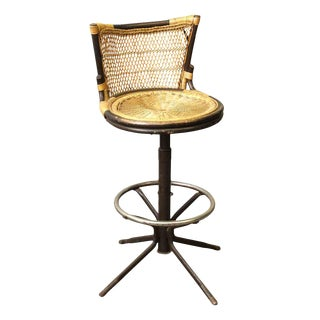 Oriental Style Wicker & Metal Bar Stool For Sale