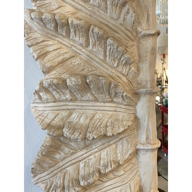 Vintage Tropical Palm Tree Leaf Leaves Faux Bamboo Wall Mirror For Sale In West Palm - Image 6 of 9