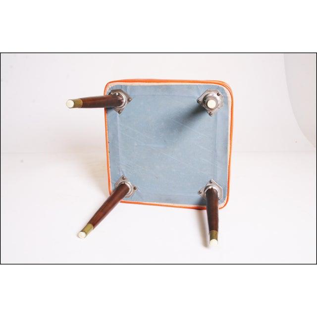 Mid Century Modern Orange Vinyl Foot Stool - Image 11 of 11
