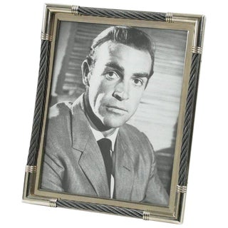 Plata Lappas Argentina Modernist Silver Plate and Steel Picture Photo Frame For Sale