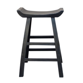 Black Solid Wood U-Shaped Bar Stool