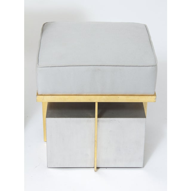Modern Steel Vanity Table and Stool In Style Of Maison Jansen - a Pair For Sale - Image 11 of 13