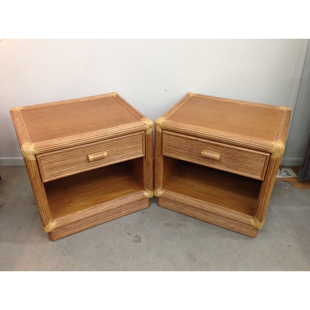 Put a little tiki in your life with these cool wood and rattan nightstands. Each table features one dove-tailed drawer and...