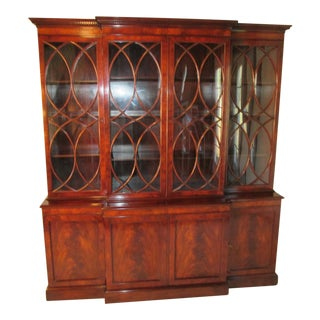 Old Colony Mahogany Breakfront Cabinet For Sale