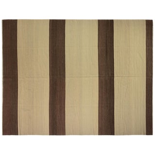 "Brown and Tan Wool Kilim Rug-10'6'x13'6"" For Sale"