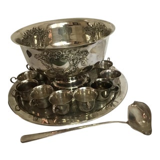 Punch Bowl Silver Set Tray Cups Bowl 12 Pc For Sale
