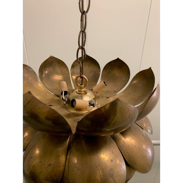 Brass 1970s Large Brass Lotus Pendant Light by Feldman For Sale - Image 8 of 9