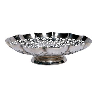 Silver Plate Reticulated Scalloped Bowl For Sale