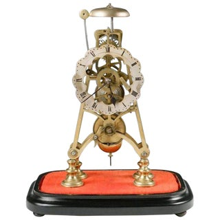 Mid-19th Century Neoclassical Brass Skeleton Clock For Sale