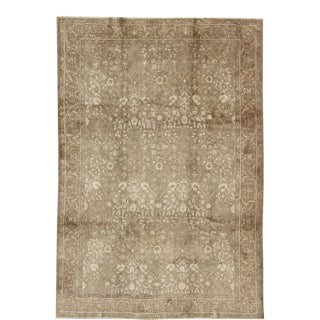 Antique Turkish Oushak Rug With All-Over Botanical Pattern in Taupe and Neutrals For Sale