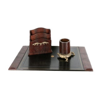 Maitland Smith Alligator Motif Leather Desk Set