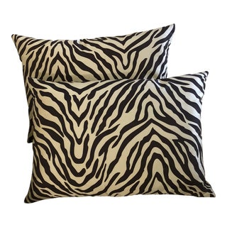 Silk Zebra Print Down Filled Lumbar Pillows - A Pair For Sale