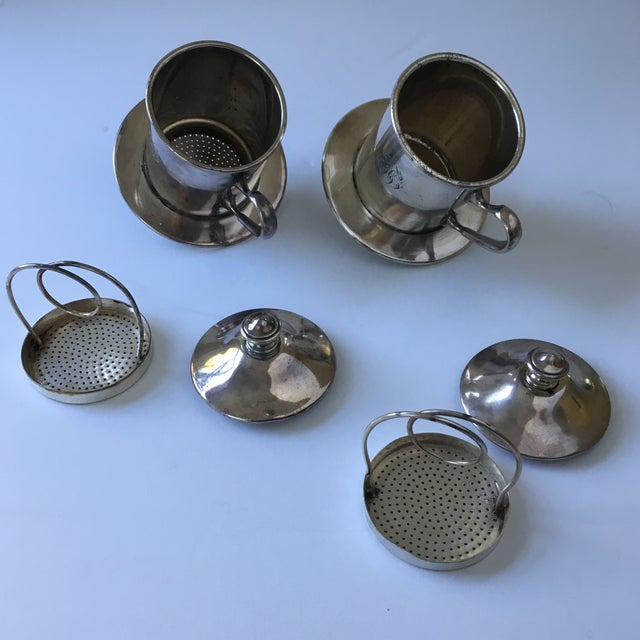 Silver French Silverware Egoist Tea Cup Filter Set, 1850 For Sale - Image 8 of 11