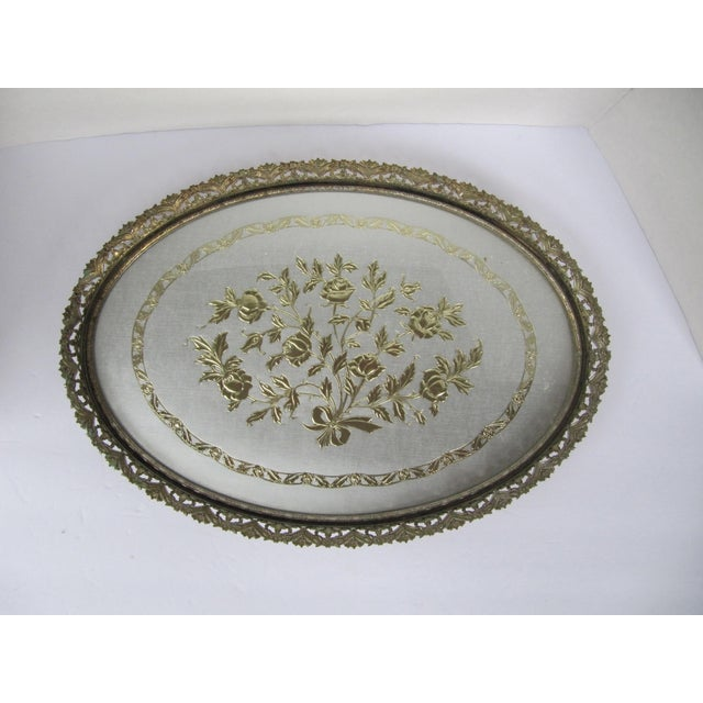 Beautiful vintage Hollywood Regency vanity tray with flower details. This beautiful pice would look great on your bedside...